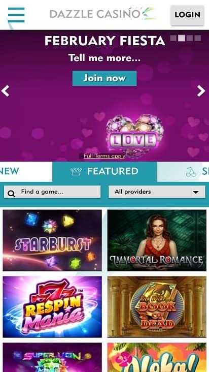 Dazzle casino Home page