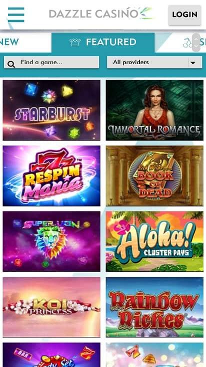 Dazzle casino games page