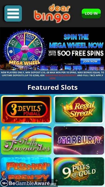 Dear bingo home page