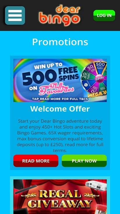 Dear bingo promotions page