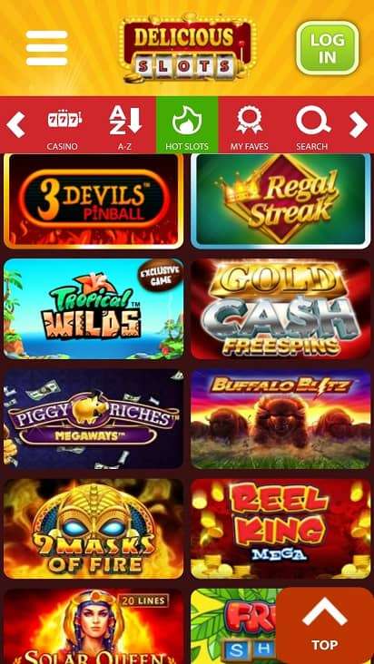 Delicious slots games page