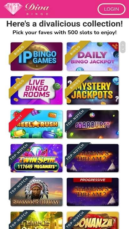 Diva bingo games page