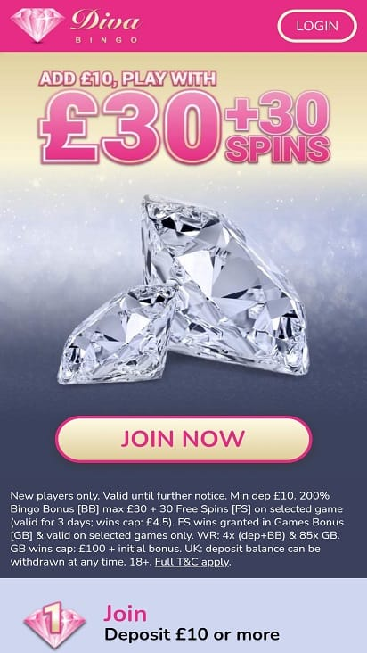 Diva bingo home page