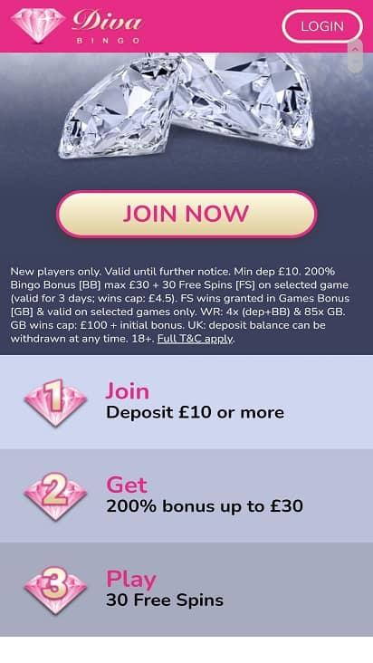 Diva bingo promotions page