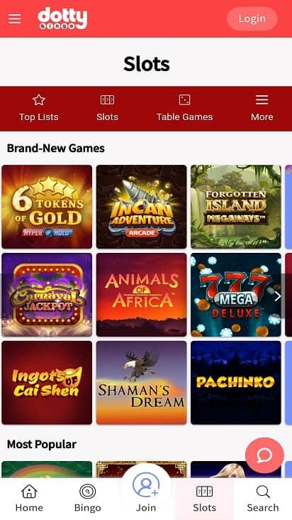 Dotty bingo games page