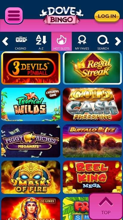 Dove bingo Games page