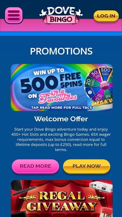 Dove bingo promotions page