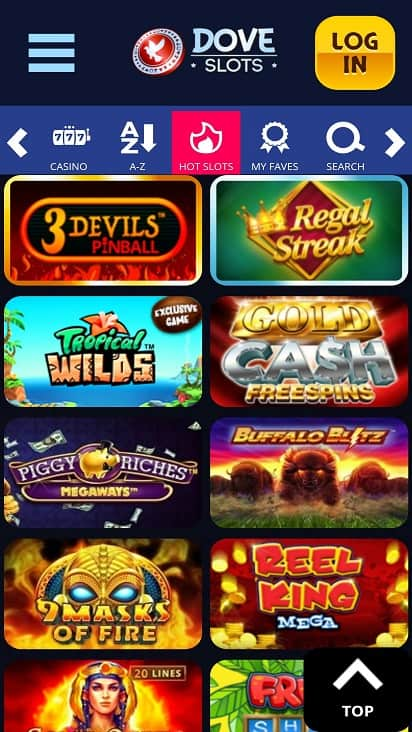 Dove slots games page