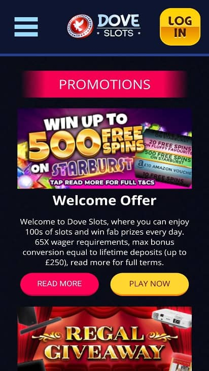 Dove slots promotions page