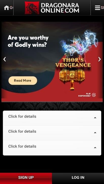 Dragonara online promotions page