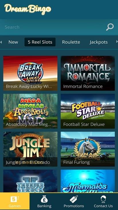 Dream bingo games page