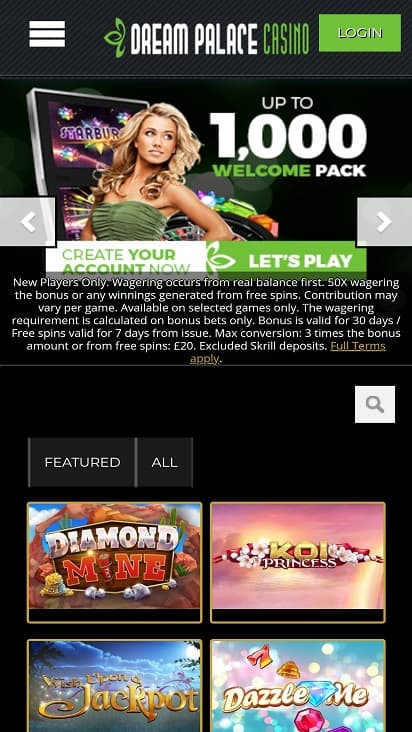 Dream casino palace home page