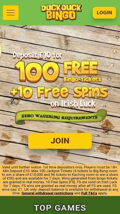 Duck duck bingo home page