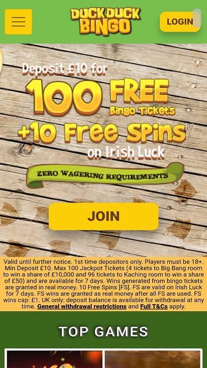 Duck duck bingo promotions page