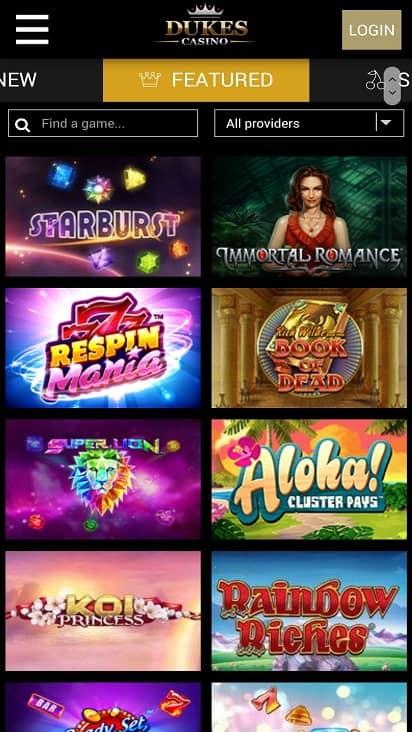 Dukes casino games page