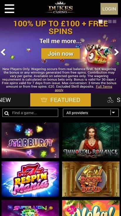 Dukes casino home page
