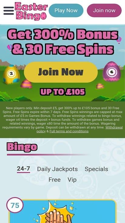 Easter bingo home page