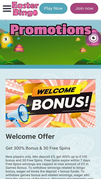 Easter bingo promotions page