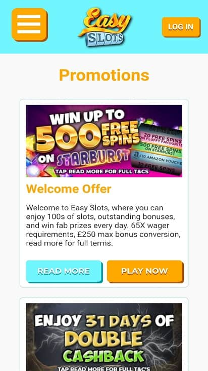 Easy slots promotions page