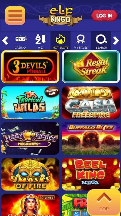Elf bingo games page