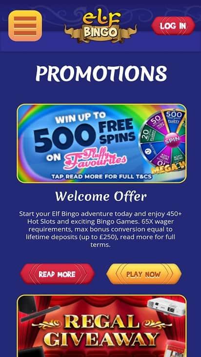 Elf bingo promotions page