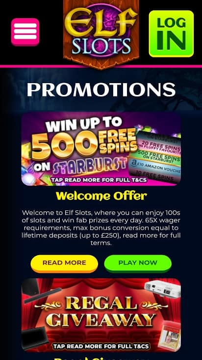 Elf slots promotions page