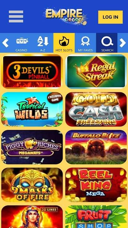 Empire bingo games page