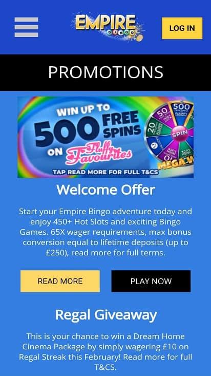 Empire bingo promotions page