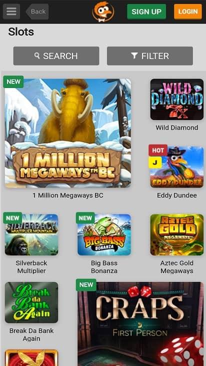 Emu casino games page