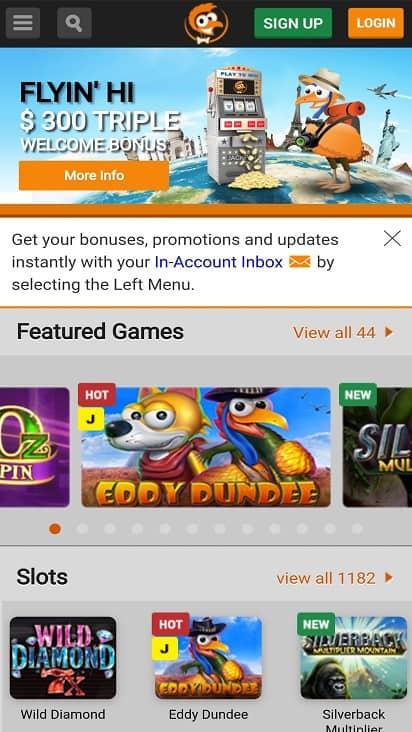 Emu casino home page