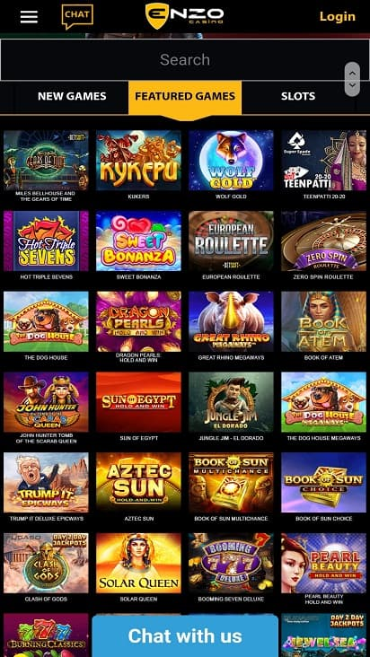 Enzo casino games page