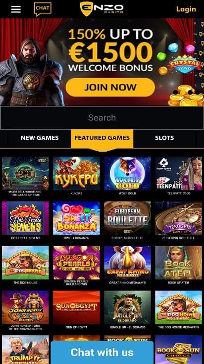 Enzo casino home page