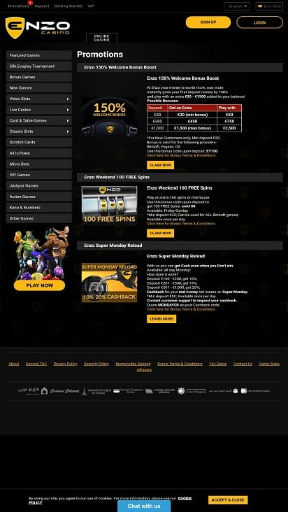 Enzo casino promotions page