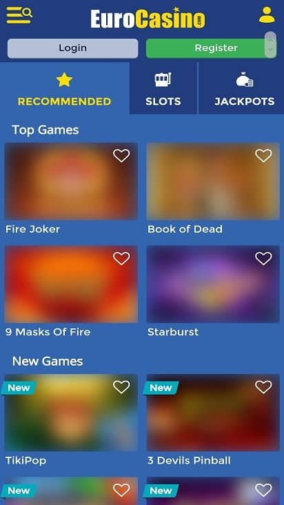 Euro Casino games page