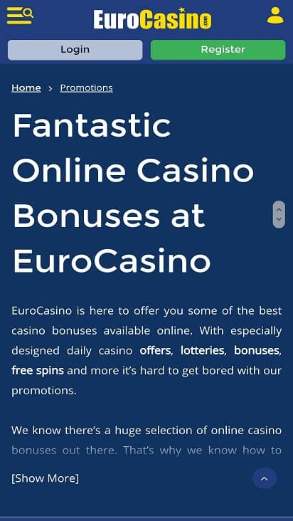 Euro Casino promotions page
