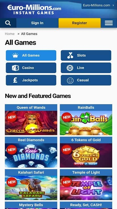 Euro millions games page