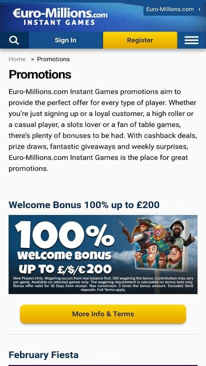 Euro millions promotions page