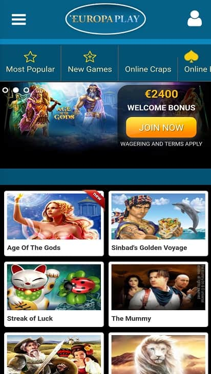 Europa play home page