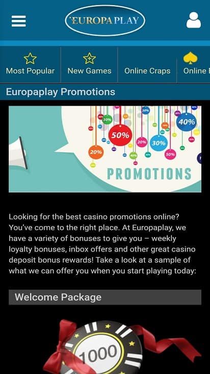 Europa play promotions page