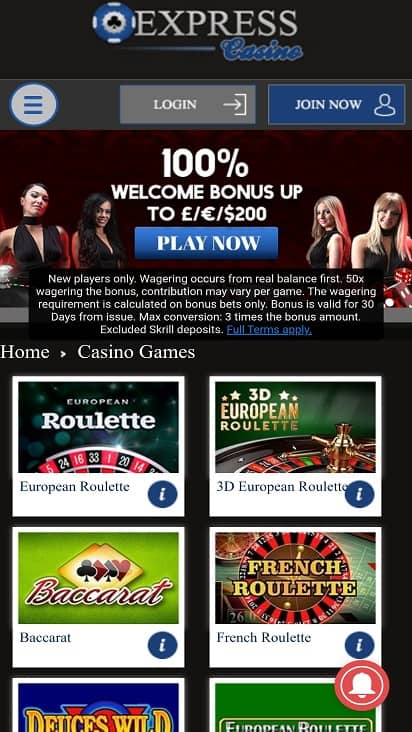 Express casino games page