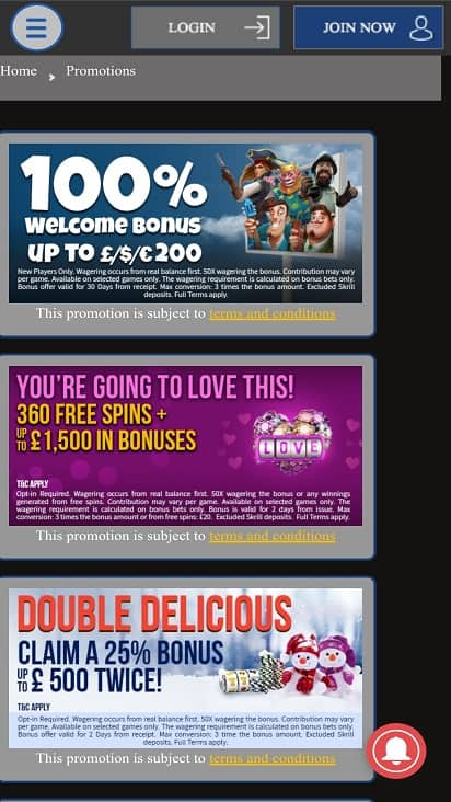 Express casino promotions page