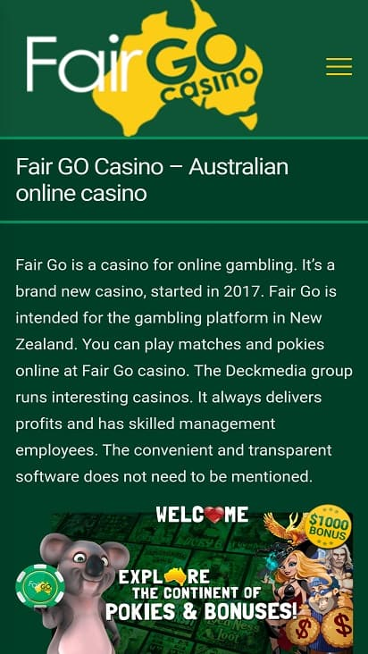 Fair go casino home page