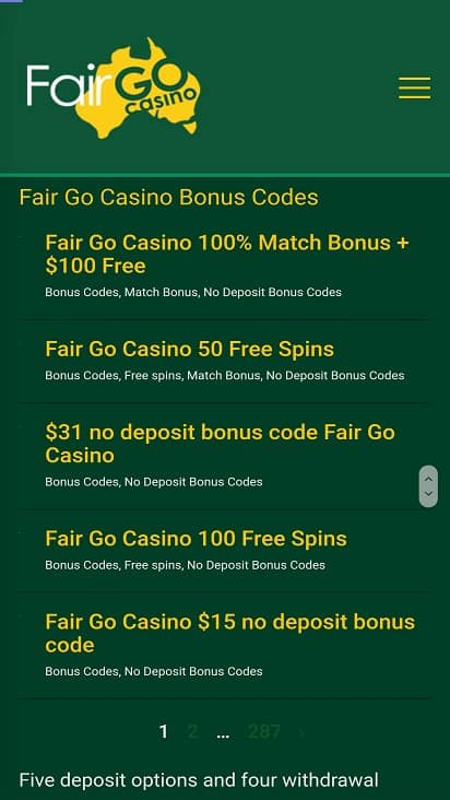 Fair go casino promotions page