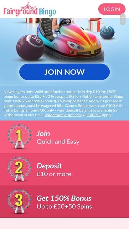 Fair ground bingo promotions page