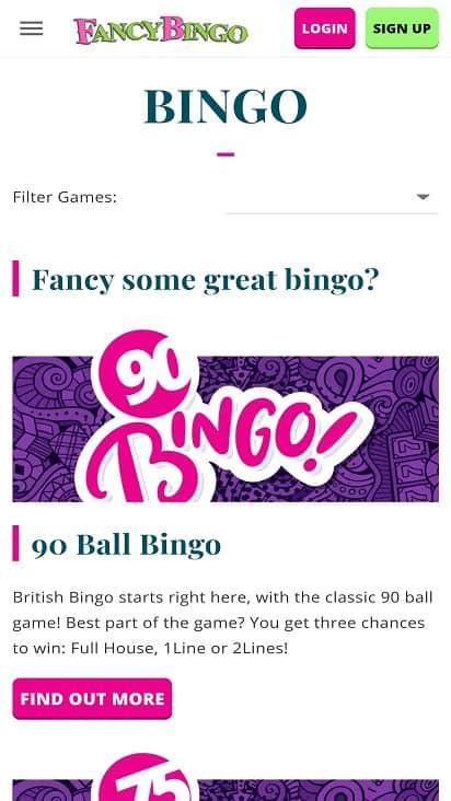 Fancy bingo games page