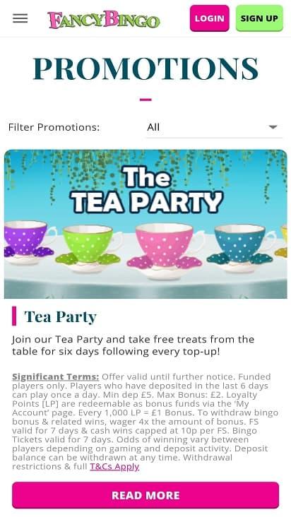 Fancy bingo promotions page