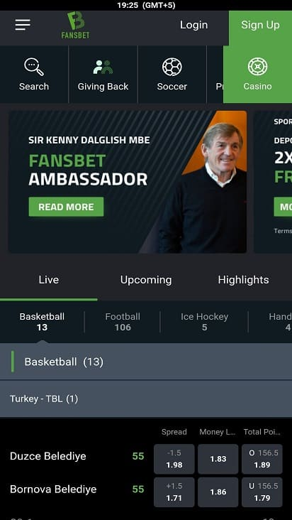 Fans bet home page