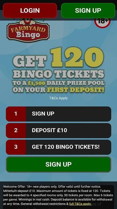 Farmyard bingo home page