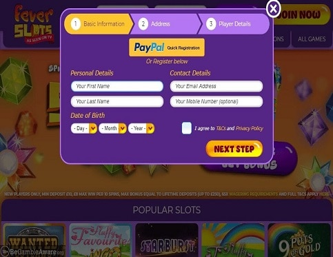 Fever-Slots-signup-page