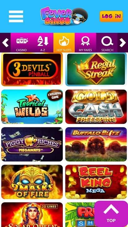 Fever bingo games page